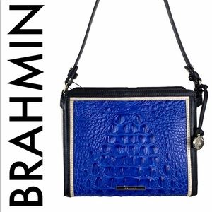 BRAHMIN NWT BLUE PEARL BLACK LEATHER CROSSBODY BAG